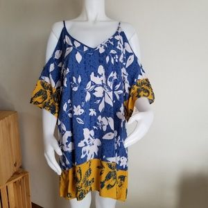 Lush Medium Cold Shoulder Floral Dress